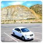 Our (rental) car in the mountains