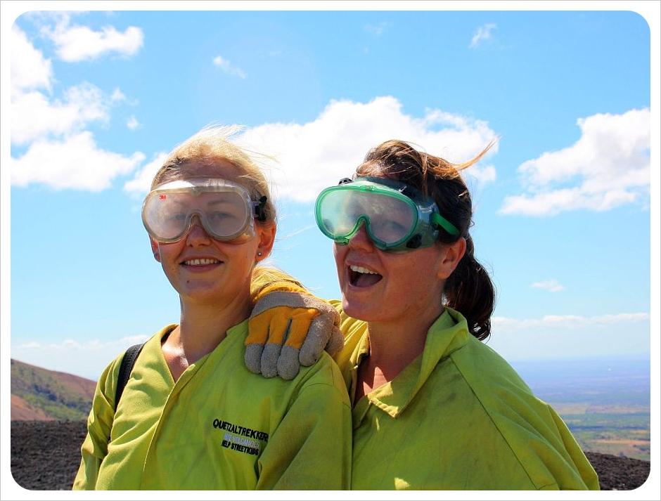 dani & jess volcano boarding leon nicaragua