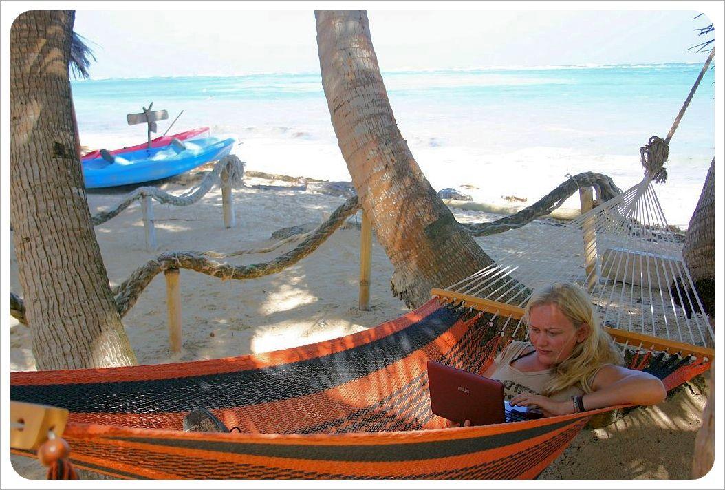 Dani at work on Little Corn Island Nicaragua