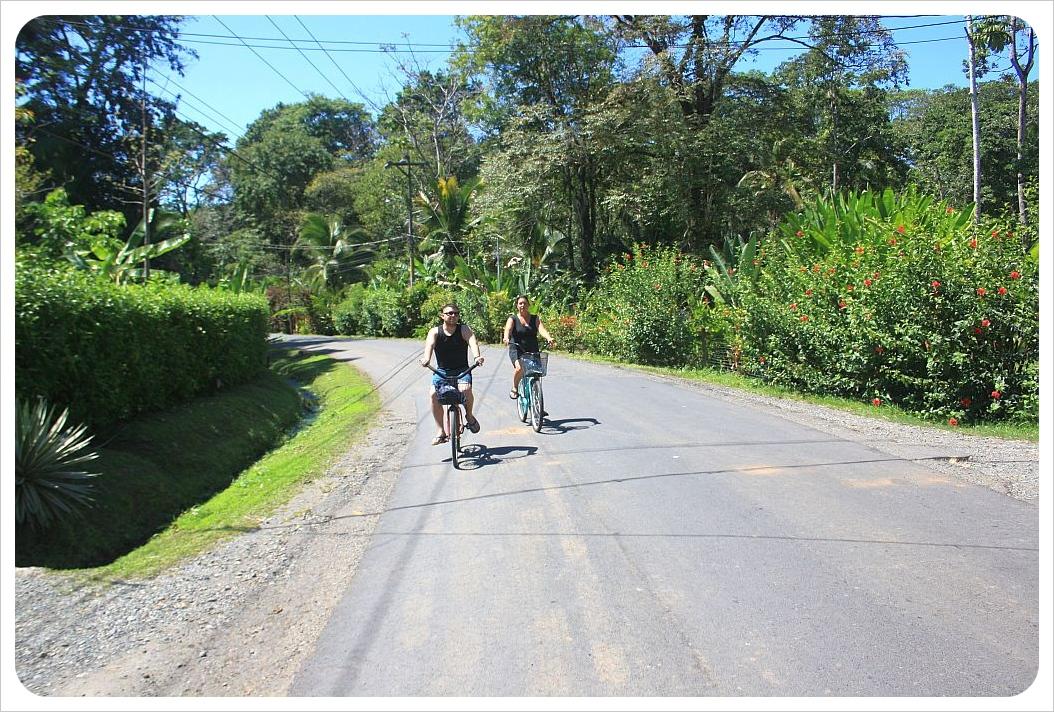Jessie & Jaime cycling along Costa Rica's Caribbean coast
