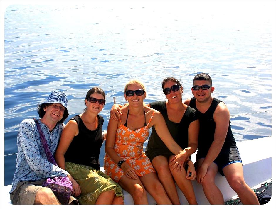 Blogger snorkeling trip in Bocas del Toro: Simon, Erin, Dani, Jess, Jaime