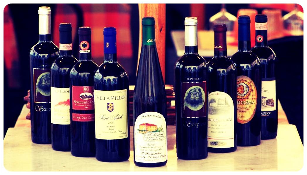 wine bottles in italy