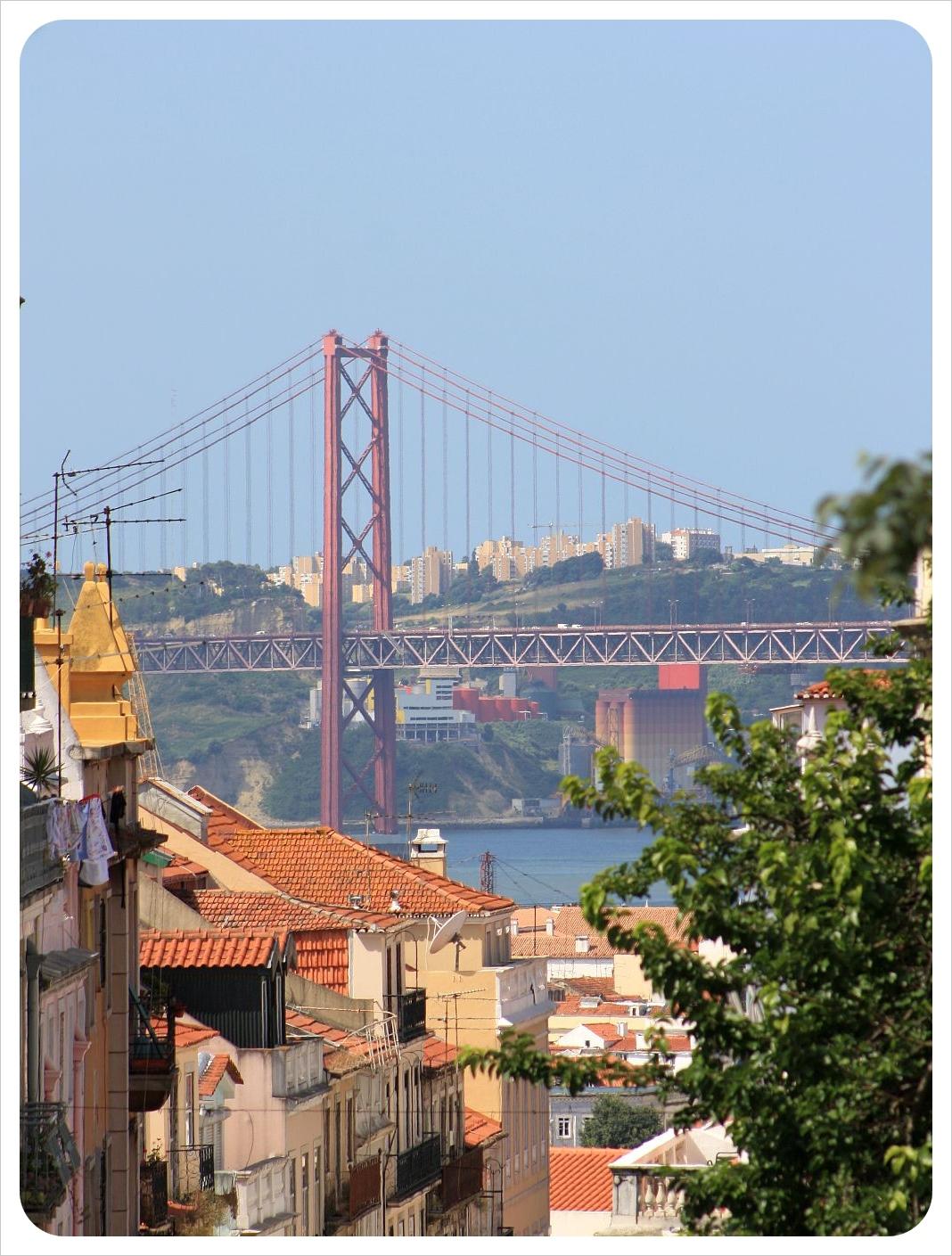 Lisbon street and bridge 25 de abril