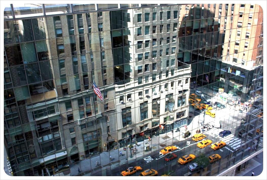 Reflection of New York City street