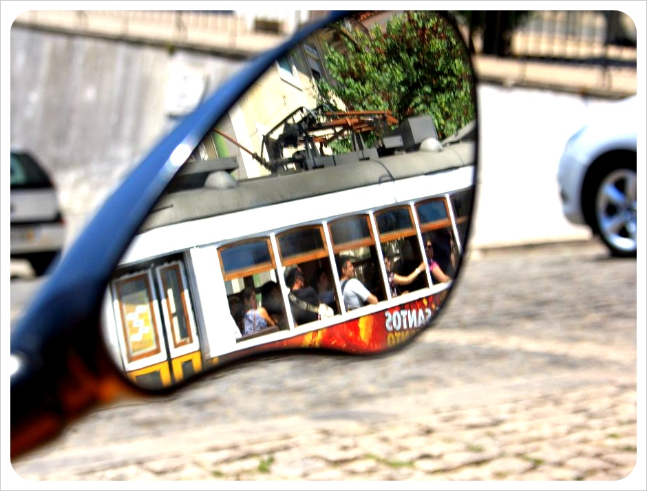 Tram reflection gocar lisbon