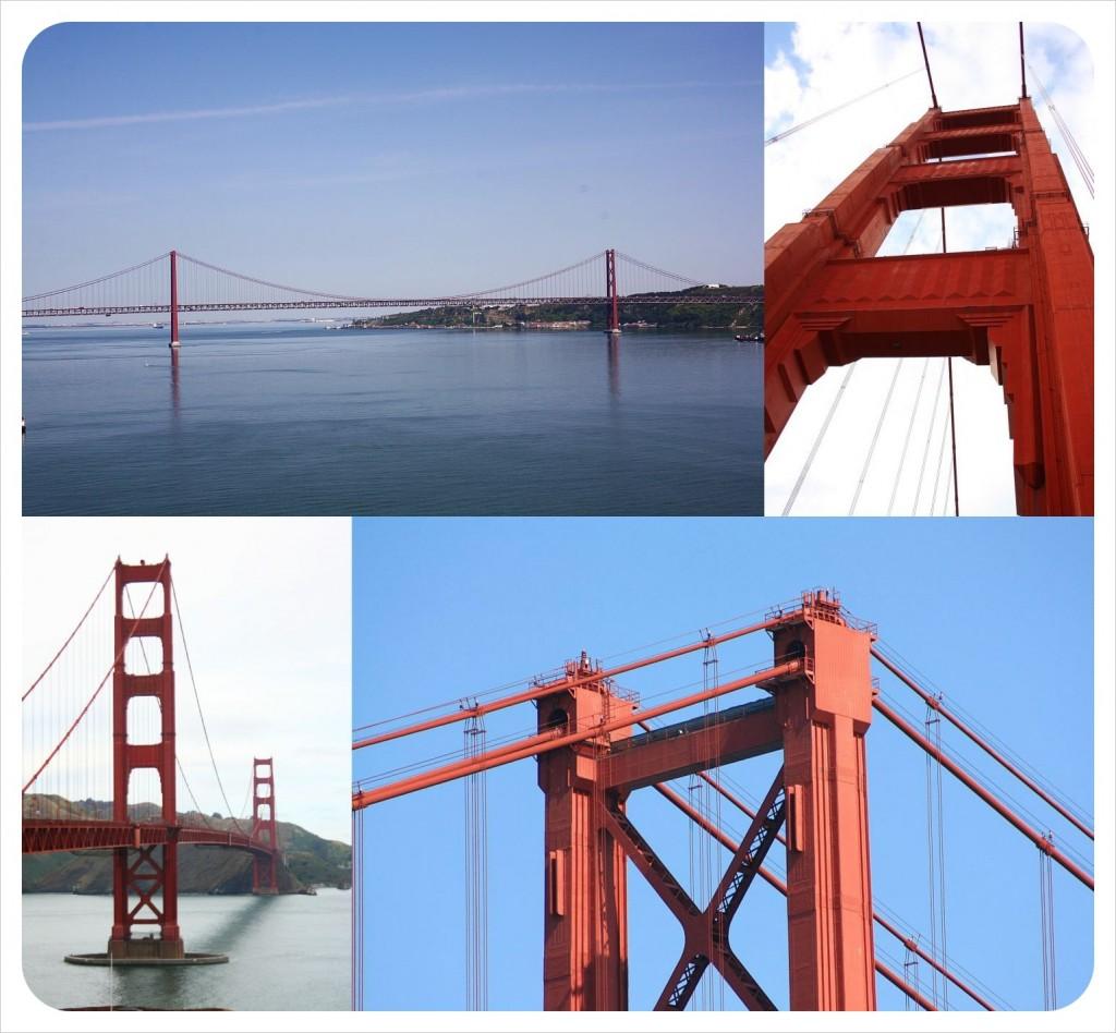 golden gate bridge san francisco & lisbons 25 abril bridge