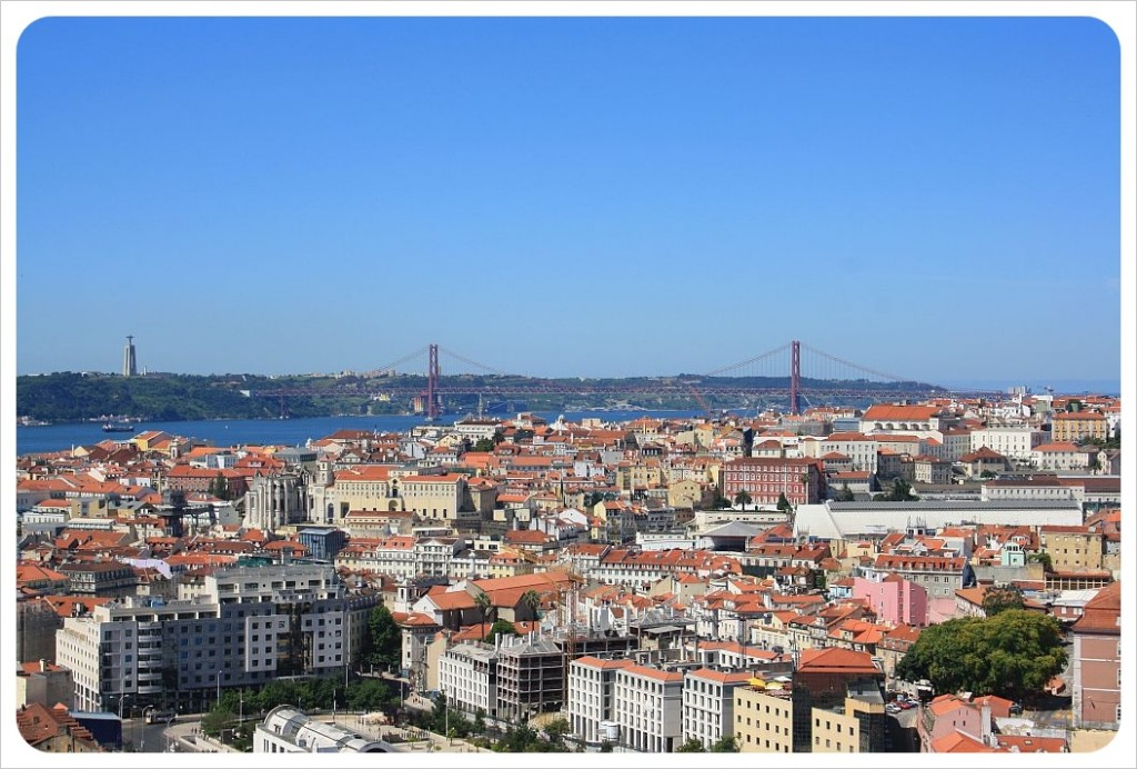 view over lisbon and 25 de abril bridge