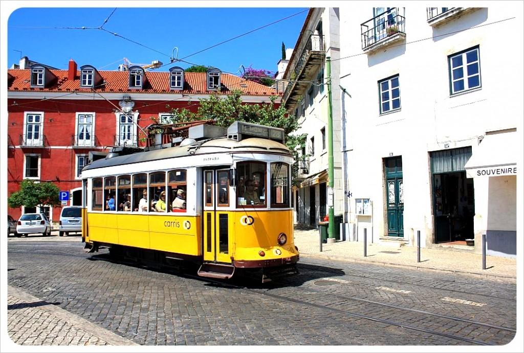 yellow tram lisbon portugal