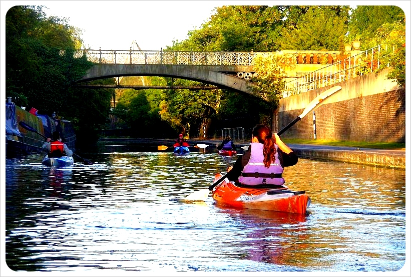 Kayaking on Regents Canal London