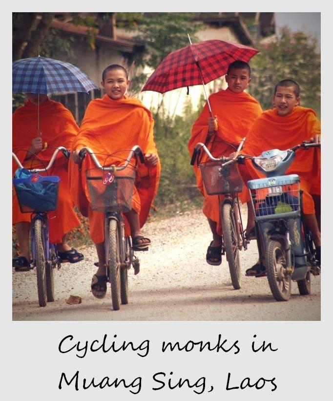 polaroid of the week laos muang sing monks on bikes