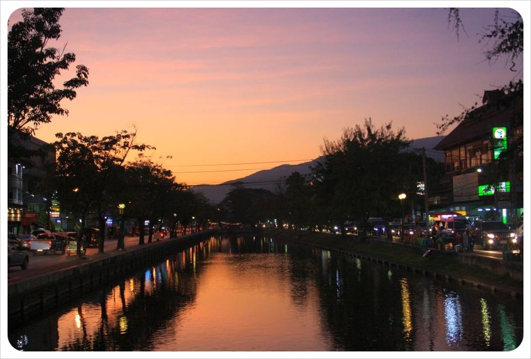 december moat at sunset chiang mai thailand