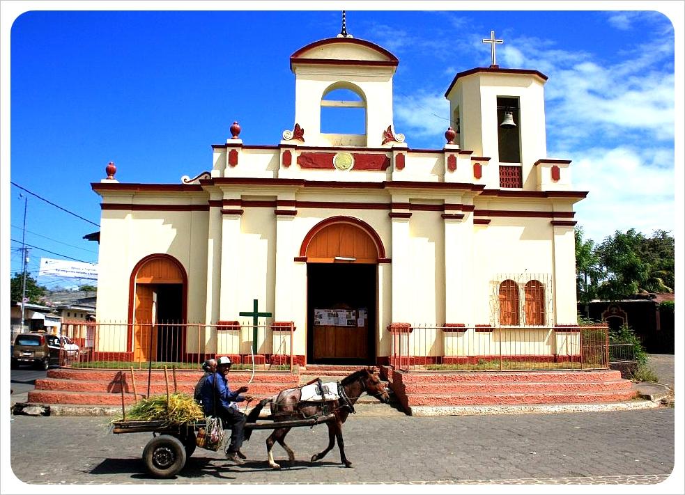 february nicaragua masaya church &horse carriage