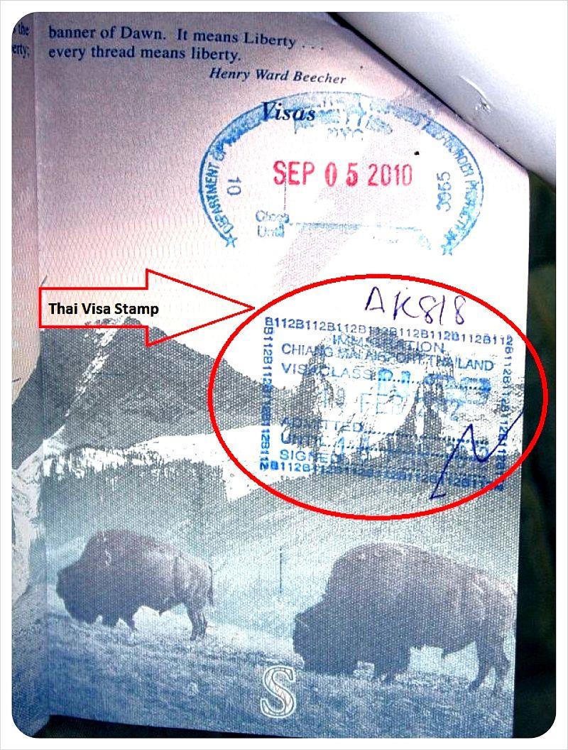indian visa thai visa stamp