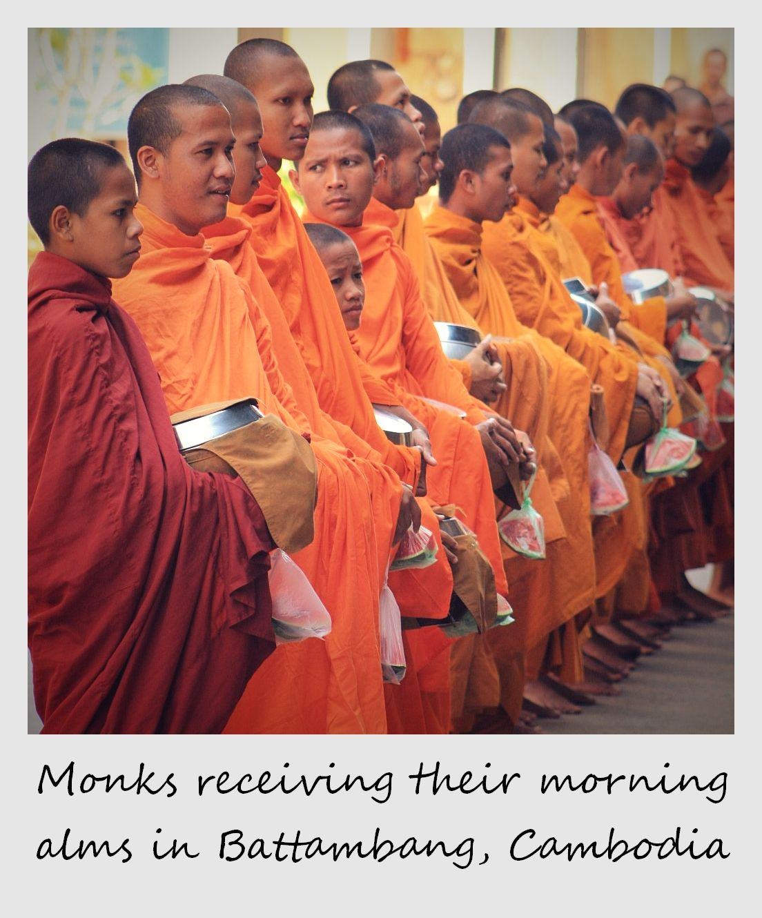 polaroid of the week cambodia battambang monks receiving alms