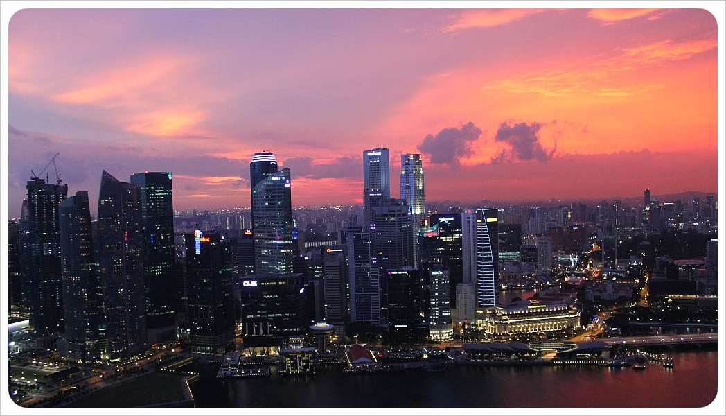 singapore sunset from top of marina bay sands