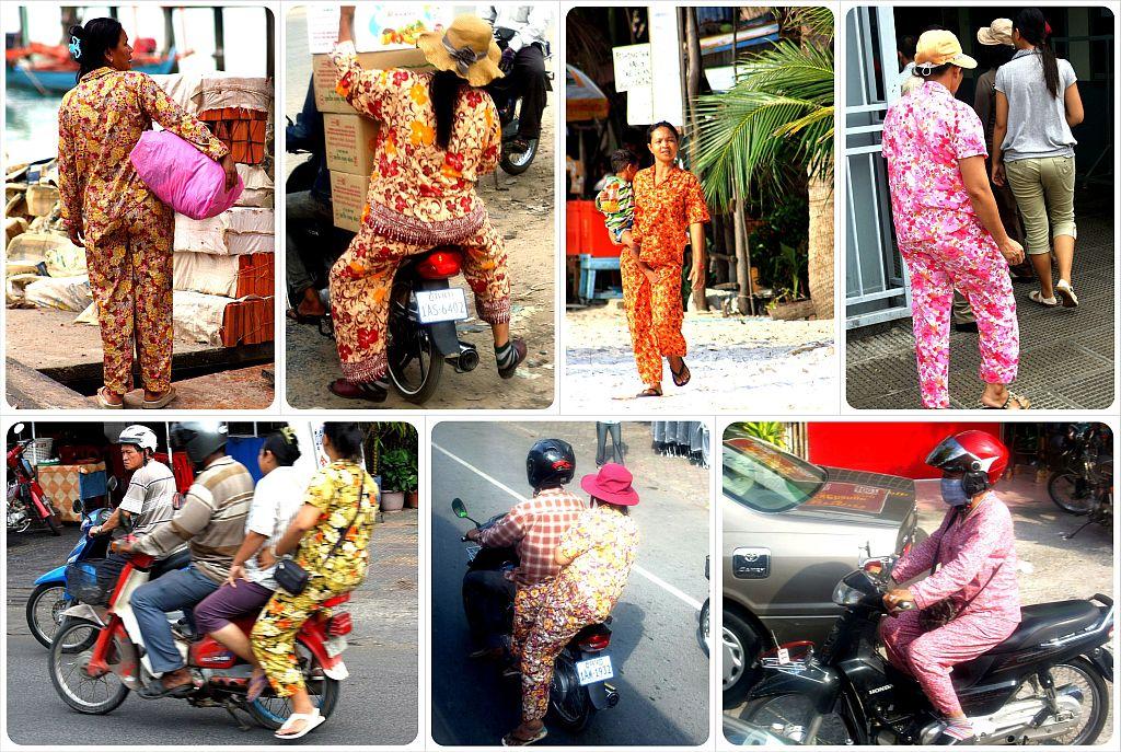 cambodian ladies in pajamas