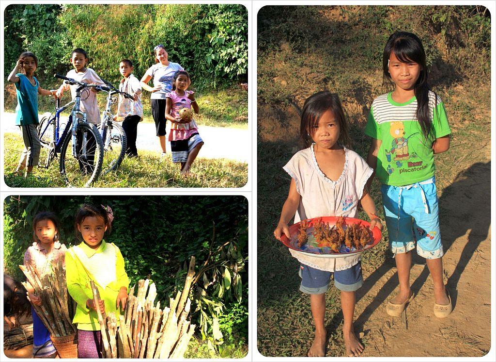 meeting village kids in laos
