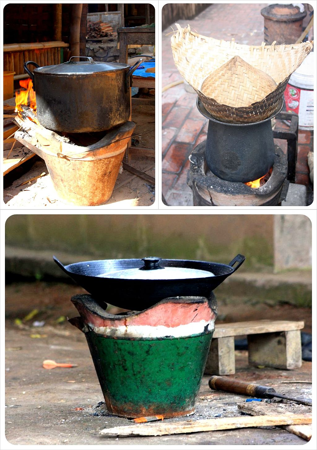 outdoor cooking in laos