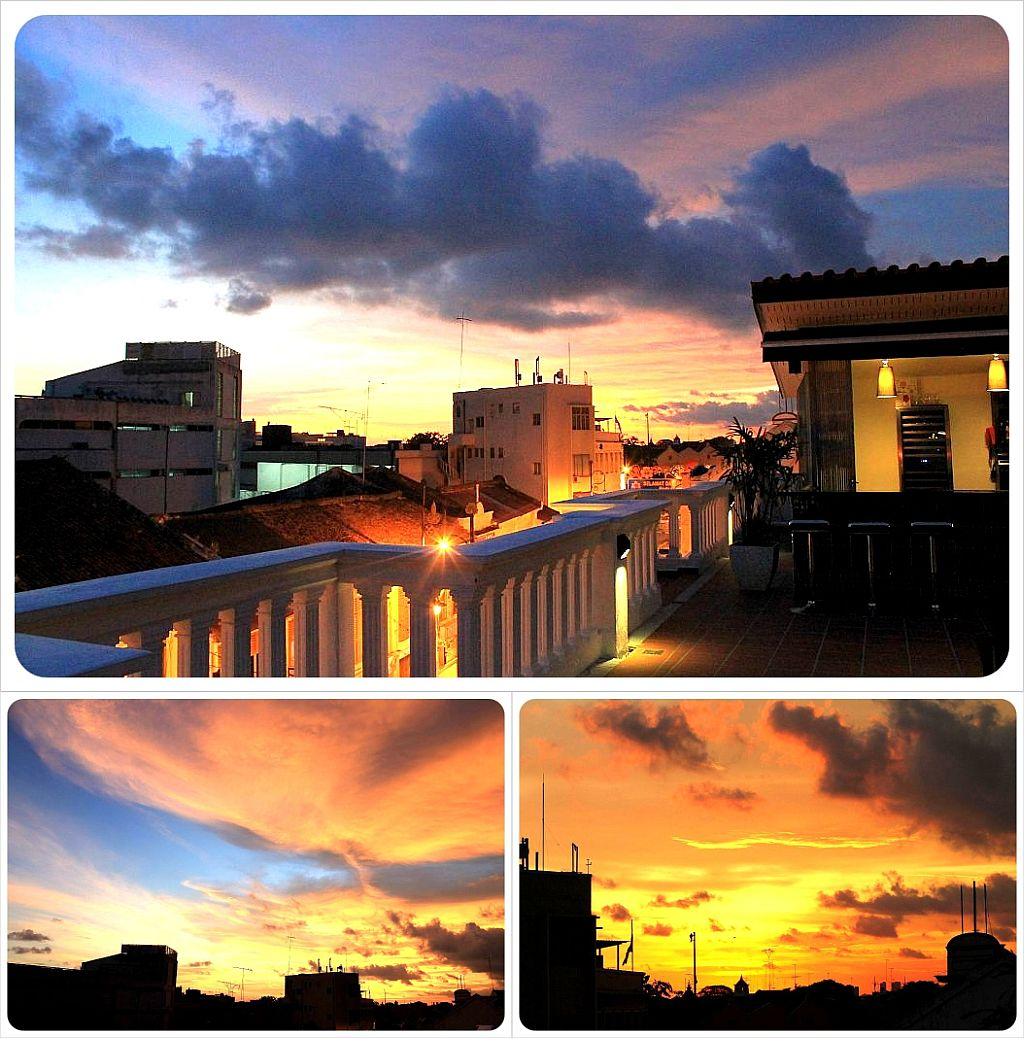 the sterling hotel melaka sunset from the balcony bar