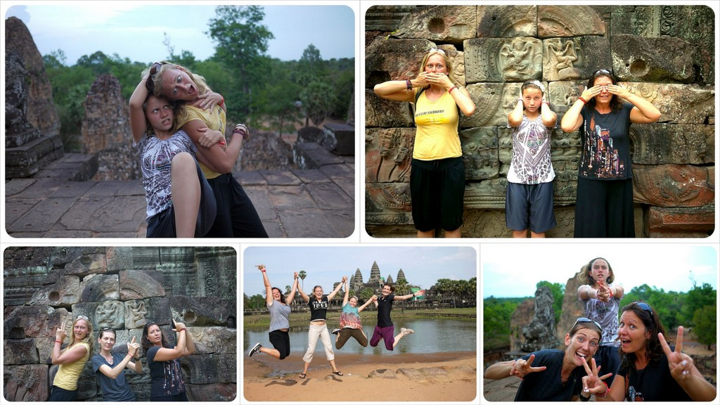 goofing around at angkor wat