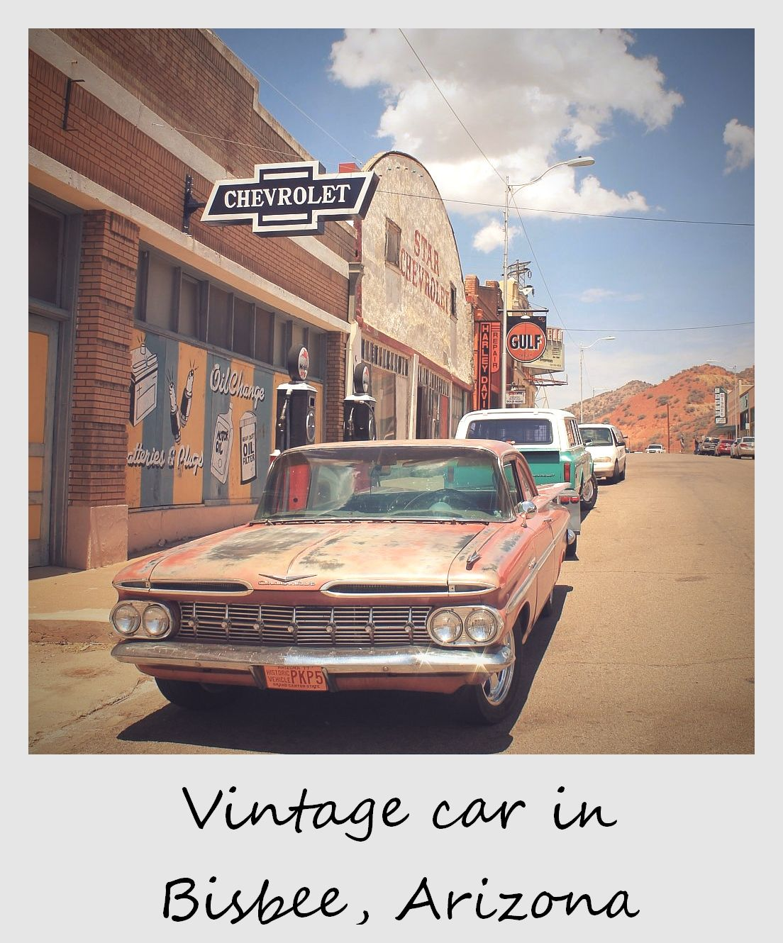 polaroid of the week usa arizona bisbee street with vintage car
