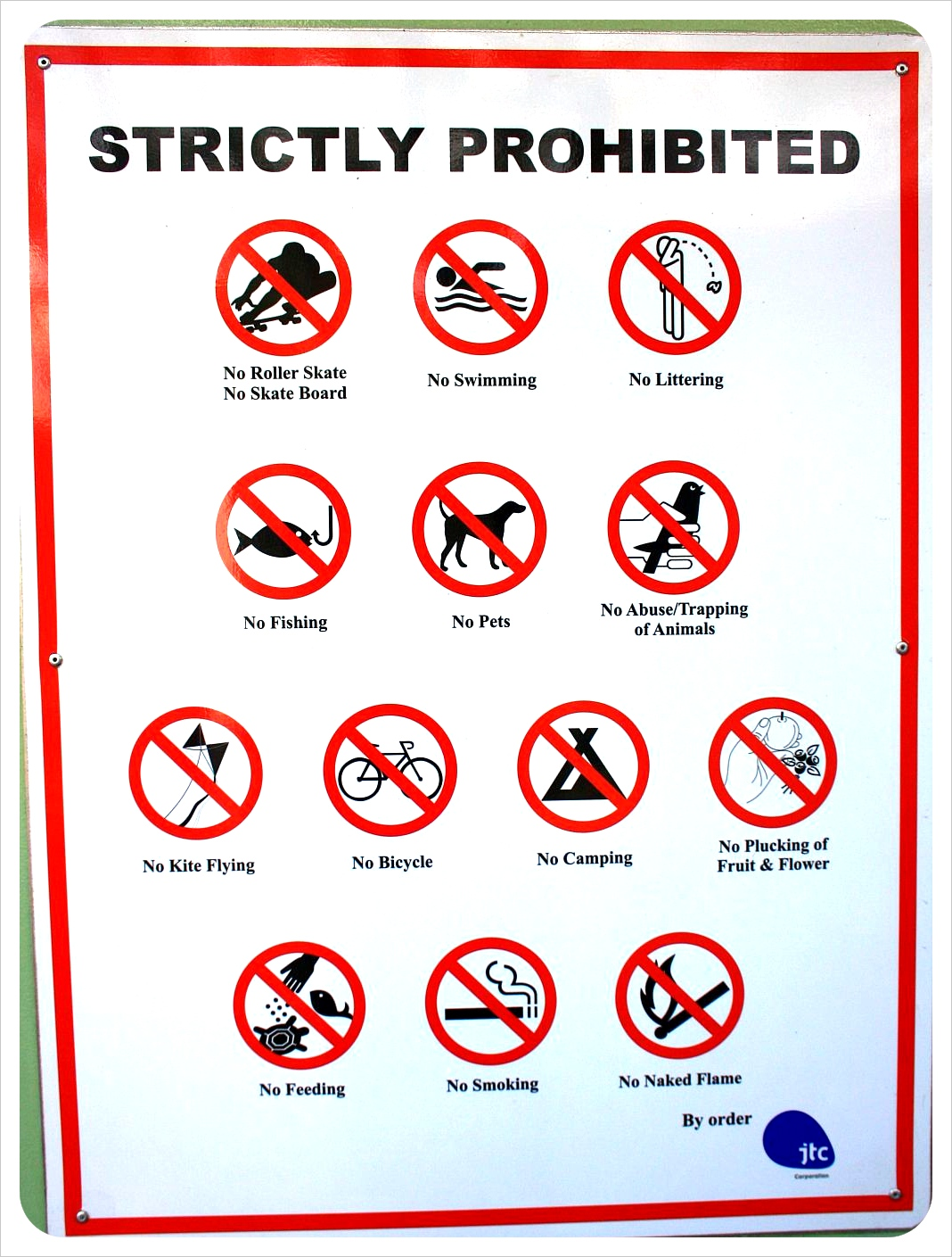 strictly prohibited sign singapore