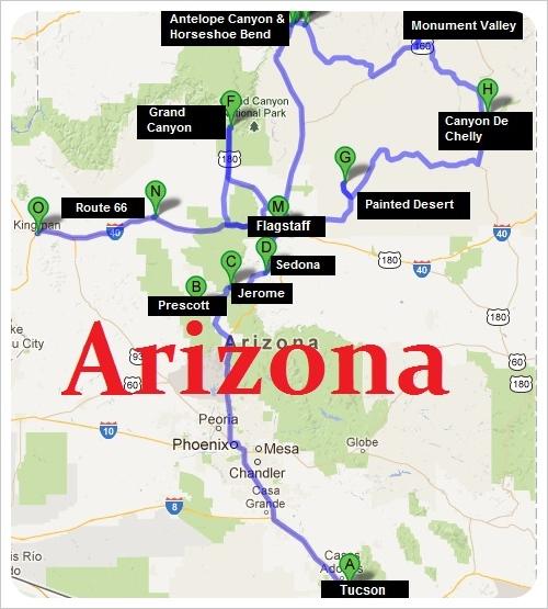 Arizona Road Trip Route