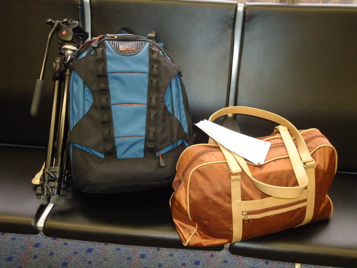Amy's media equipment (blue bag) and luggage