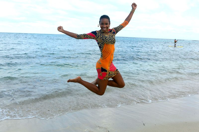 Travelista Teri Jumping in St Croix