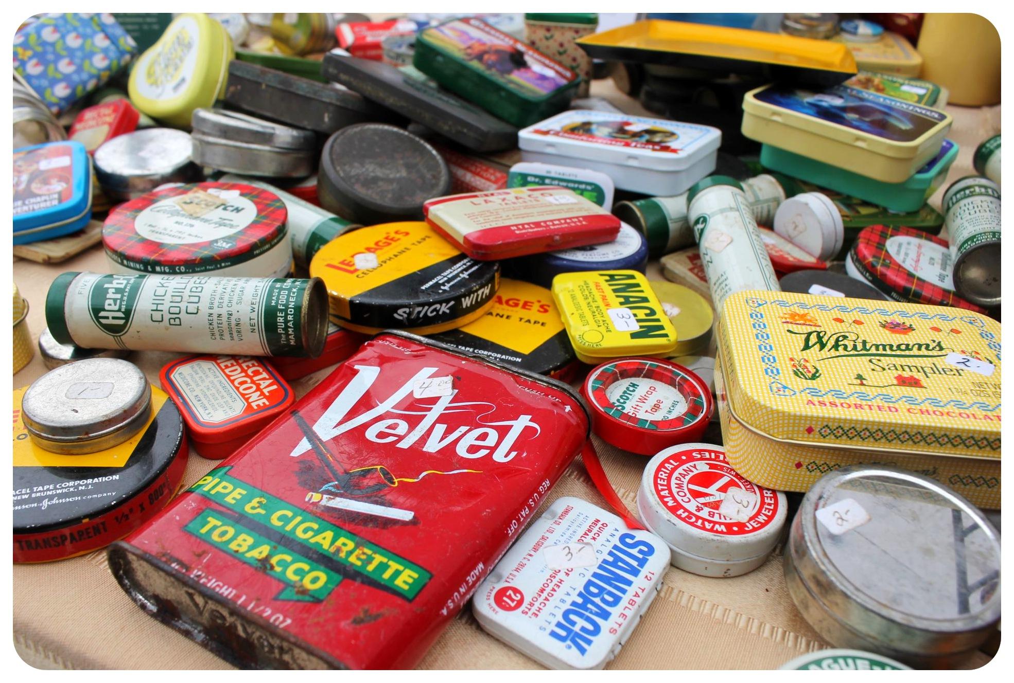 williamsburg flea market tin boxes