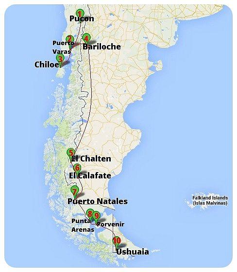 Tour Patagonia Road Map