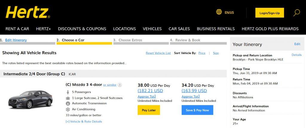 car rental comparison website
